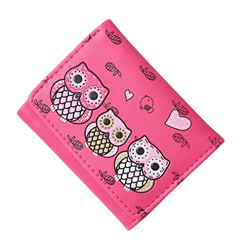 Hot Sale Coin Purse,AmyDong Women Simple Owl Printing Short Wallet Coin Purse Card Holders Handbag Clutch (Hot Pink)