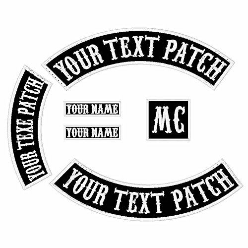6 in 1Pack Font Custom Embroidered Personalized Punk Rocker Jacket Rider Motorcycle Biker Patches for back Name Patch Appliqued Iron-on/Sew-on Embroidery Patch (Black Fabric+White Text+White Border) (Rocker Custom)