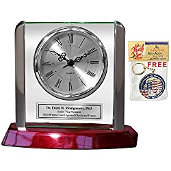 AllGiftFrames Engraved Employee Recognition Retirement Desk Clock Metal Accents Glass Panel on Cherry Wood with Ornamental Timepiece Needle Movement Birthday Wedding