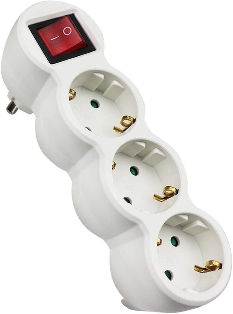 Extrastar adaptador plano con interruptor y tres enchufes schuko. 16A/250V~ MAx.3680W