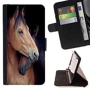 King Art - Premium-PU-Leder-Prima caja de la PU billetera de cuero con ranuras para tarjetas, efectivo Compartimiento desmontable y correa para la mu?eca FOR LG OPTIMUS L90- Horse Cute