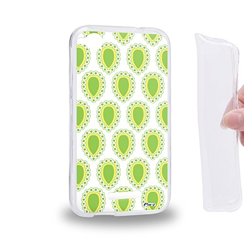 Pin-1 [HTC Desire 320] Gel TPU Phone case - Paisley Jewels Green DSE0096