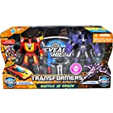 """Transformers """"Reveal the Shield"""" Series 2 Pack Deluxe Class 6 Inch Tall Robot Action Figure Set - BATTLE IN SPACE - Autobot RODIMUS with Photon Blaster and Autobot Matrix of Leadership vs. Decepticon CYCLONUS with Nightstick Mini-Con Plus Bonus Comic"""