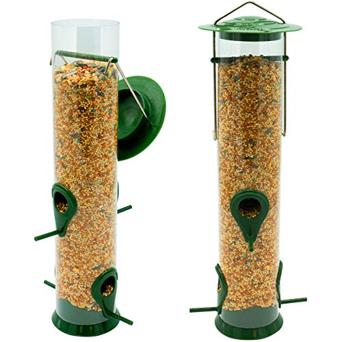 �� Classic Tube Hanging Feeders for Finches Bird Seed and More, Weatherproof, Premium Hard Plastic with Metal Hanger, Great for Attracting Birds Outdoors, Backyard, Garden (2 Pack) ()
