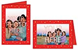 Photographer's Edge, Photo Insert Card, Premium Red Linen, Gold Star Foil Border, Set of 10 for 4x6 Photos