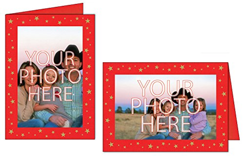 Photographer's Edge, Photo Insert Card, Premium Red Linen, Gold Star Foil Border, Set of 10 for 4x6 - Christmas Cards For Inserts
