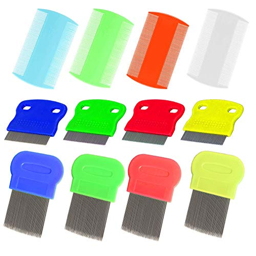 LORITARIA 12pcs Kids Head Nit Lice Combs - Pet Cats Dogs Flea Comb - Dog Tear Stain Remover - Fine Teeth Grooming Hair Comb, Double Sided & One-Side, Metal & Plastic (Colorful)