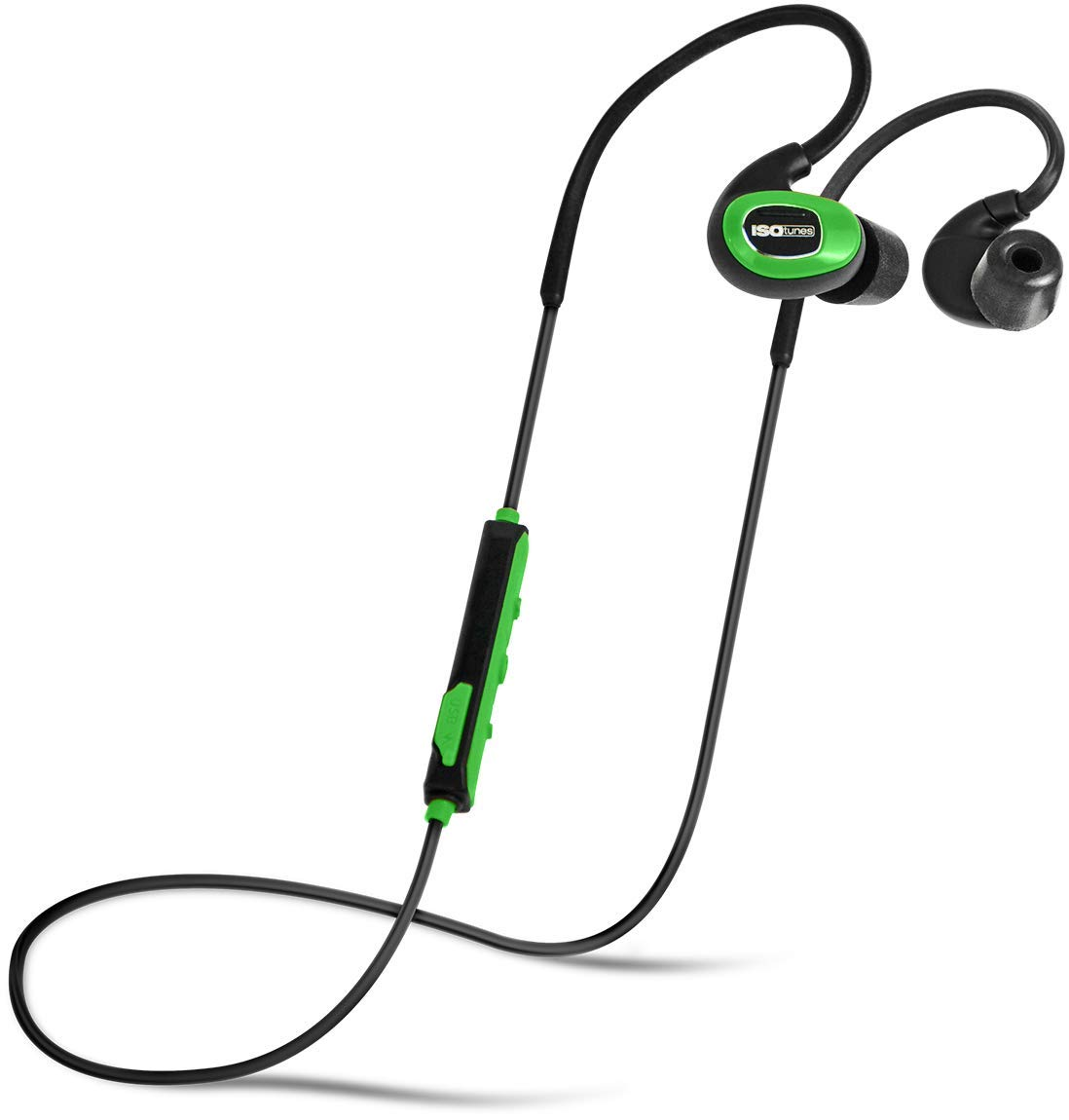 ISOtunes PRO Industrial (No Microphone), Bluetooth Earplug Headphones, 27 dB Noise Reduction Rating, 10 Hour Battery, 79 dB Volume Limit, OSHA Compliant Bluetooth Hearing Protector (Safety Green) by ISOtunes