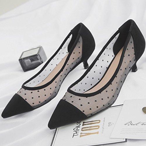 AJUNR Moda/elegante/Transpirable/Sandalias Zapatos de mujer sexy punto a punto luz salvaje negro 4cm de alto-Heel Shoes 36 38