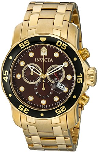 Mens Chronograph Brown Dial - Invicta Mens Pro Diver Scuba Swiss Chronograph Brown Dial 18k Gold Plated Bracelet Watch 80065