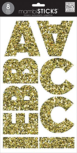 Large Glitter Stickers - Me & My Big Ideas Large Alpha Sticker, Mia Chunky, Glitter Gold