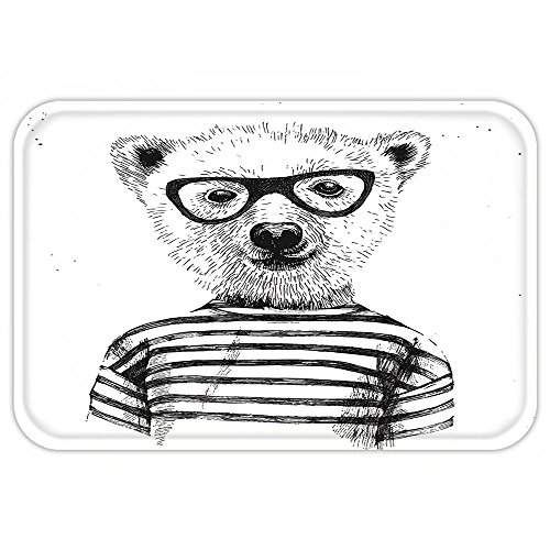Horses Dressed Up In Costumes (Kisscase Custom Door MatApartment Decor Dressed Up Hipster Nerd Smart Male Bear in GlasseFun Character Animal Artful Print Decor Black White)