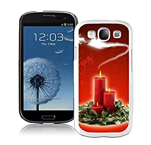S3 Case,Christmas Candles In Leaves White Silicone Samsung Galaxy S3 Case,S3 I9300 Cover Case