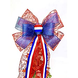 Wreath Bow, Red White Blue Bow Handmade Large Gift Bow, Patriotic Bow, Wreath Bows, Holiday Bow, Home Decor, Swag Bow, Door Decor - Handmade Bow 101