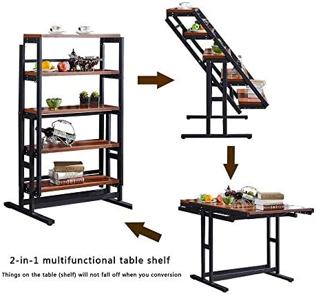 Organizedlife Convertible Console Shelf Table Dining Table Console Shelves Wood and Metal Bookshelf Display Multiple Uses Modern Home Office Desk