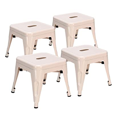COSTWAY Kids Metal Stools Steel Barstools Vintage Antique Style Counter Bar Stool (Milky White, Set of 4): Kitchen & Dining