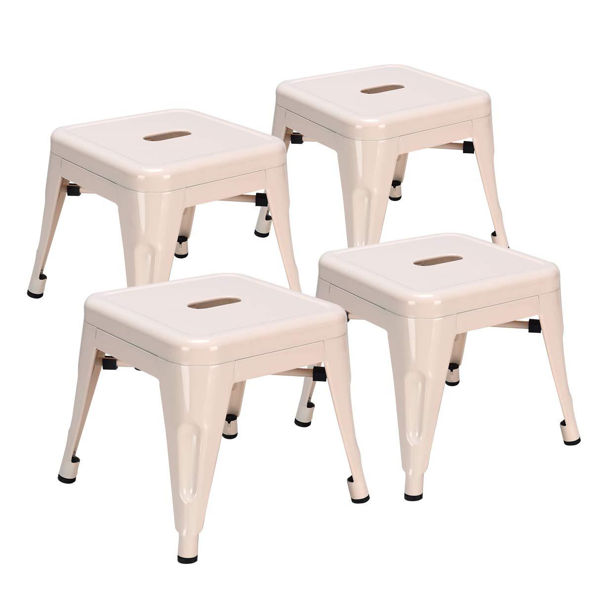 Costzon Kids Stackable Metal Stool, Children Toddlers Lightweight Compact Seat Furniture (Cream, Set of 4) by Costzon