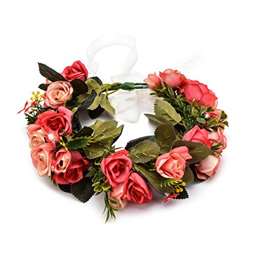 June Bloomy Rose Flower Crown Maternity Shoot Garland Floral Hair Bands Wedding Baby Shower (B-Red)