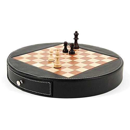 (Jewelry Adviser Gifts Wood w/Black Leather Chess Set)