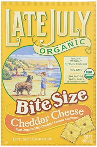 Late July Organic Bite Size Cheddar Cheese Crackers, 5 oz