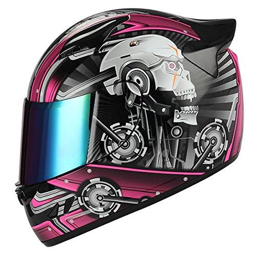 (1STORM MOTORCYCLE BIKE FULL FACE HELMET MECHANIC SKULL - Tinted Visor PINK)