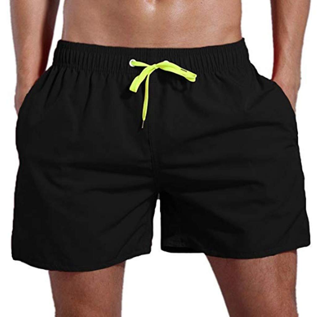 Leegor Men's Relaxed Fit Cargo Shorts Outdoor Quick Drying Pocket Pants Casual Drawstring Beach Swimming Trousers Black