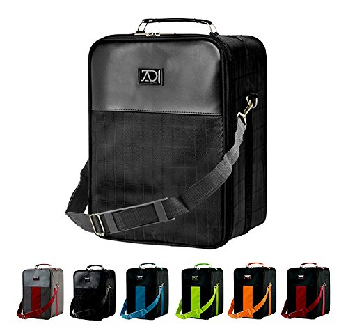 Medium Wig Travel Box with Top Handle, Shoulder Strap and Double Zipper, Carrying Case with Removable Head-Holding Base - Black Grid Design - by Adolfo Design by Adolfo Design