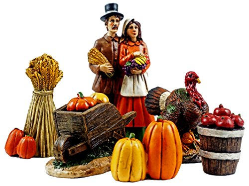 Pilgrim Village Mini Thanksgiving Figurines - Set of