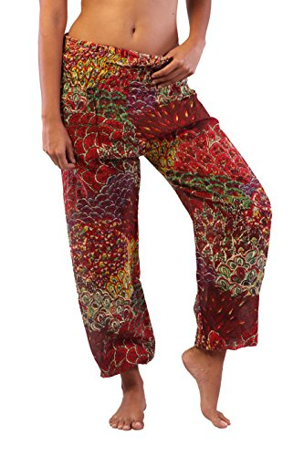 (INGEAR Bohemian Hippie Harem Loose Yoga Aladdin Pants Peacock Print Jumpsuit (Red, One Size))