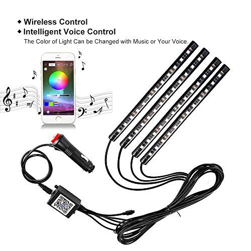 gbauto c strip  4pcs 48 led multicolor music interior dash lighting waterproof kit with sound