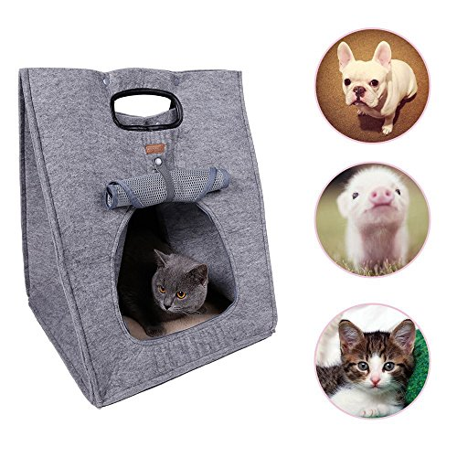 Pet Cat Carrier Soft Sided Travel Bag Carrier For Cat Puppy Kitten Cave Bed 3 In 1 Multifunctional Folding For Storage Protable Pet Travel Carrier (Grey)