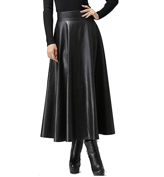 new release los angeles select for genuine Women's Black Faux Leather High Waist Long Maxi A-Line ...