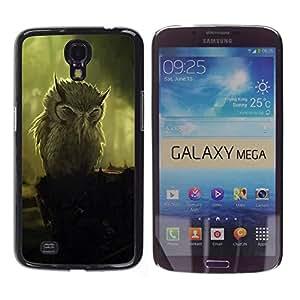 Smartphone Rígido Protección única Imagen Carcasa Funda Tapa Skin Case Para Samsung Galaxy Mega 6.3 I9200 SGH-i527 Owl Painting Art Vignette Bird Feathers / STRONG