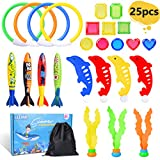 LEEHUR 25pcs Diving Toys Swimming Pool Dive Toys Swim Toys for Kids 4 Diving Rings 4 Water Torpedo Bandits 4 Diving Dolphin 3 Water Grass 10 Pirate Treasures 1 Gift Bag Party Favors Gift Set Bundle