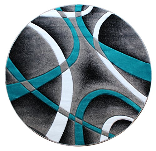 Masada Rugs Sophia Collection Hand Carved Round Area Rug Modern Contemporary Turquoise Grey Black (8 Feet X 8 Feet) Round