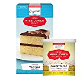 Miss Jones Baking Organic Cake and Cupcake Mix with Buttercream Frosting: Moist Vanilla Yellow Cake and Confetti Pop Frosting (Pack of 2)