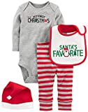Simple Joys by Carter's Baby 4-Piecemy First Christmas Set, Grey Santa, 6-9 Months