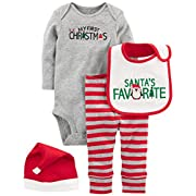 Simple Joys by Carter's Baby 4-Piece My First Christmas Set, Grey Santa, 3-6 Months
