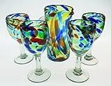 Hand Blown Wine Glasses & Pitcher Set, Confetti Swirl or Liquid Confetti Design (4)