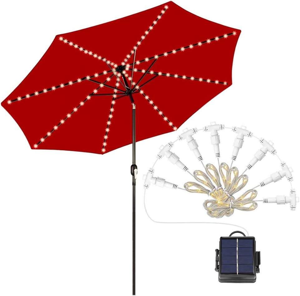 Auto On//Off Outdoor Umbrella String Lights Waterproof Patio Umbrella Light Led Solar Rechargable or Battery Powered White, Cable Ties Included 8 Branches 104 LEDs 8 Light Modes