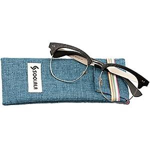 SOOLALA Mens Semi-rimless Clubmaster Eyeglass Frame Quality Reading Glass, Black, +1.25D