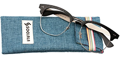 SOOLALA Mens Semi-rimless Clubmaster Eyeglass Frame Quality Reading Glass, Black, - Cheap Eyeglasses Clubmaster
