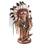 Collections Etc American Indian Head Figurine Tabletop Statue Décor