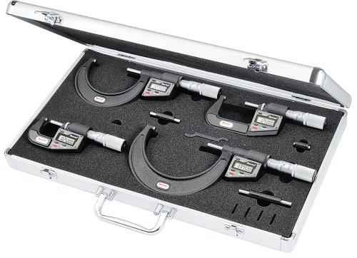 Starrett 12726 Carbide Micrometer in Metal Case, Set of Four, 0-4