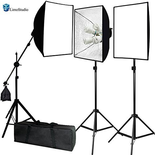 LimoStudio Photo Video Studio 2400 Watt Softbox Continuous Light Kit with Overhead Head Light Boom Kit