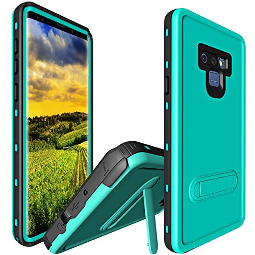 Case for Samsung Galaxy Note 9, Shockproof Snowproof Cover IP68 Underwater Full Body Protection Crystal Clear Built-in Screen Protector Case for Samsung Note 9 (Teal) ()