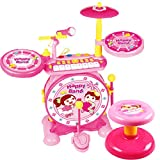 BAOLI 2-in-1 Children Musical Instrument Boy & Girl Electronic Rock Roll Jazz Drum Kit Set with Piano Keyboard and Microphone and Stool 24keys