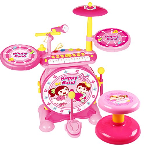 BAOLI 2-in-1 Children Musical Instrument Boy & Girl Electronic Rock Roll Jazz Drum Kit Set with Piano Keyboard and Microphone and Stool -