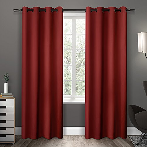 Exclusive Home Sateen Twill Weave Insulated Room Darkening Grommet Top Window Curtain Panels, Chili, Set of 2 / Panel Pair 2 - 52