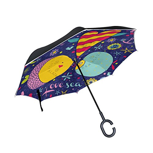Happy Valentines Day Greeting Card Gold Heart Reverse Umbrella Double Layer Inverted Umbrellas For Car Rain Outdoor With C-Shaped Handle Personalized